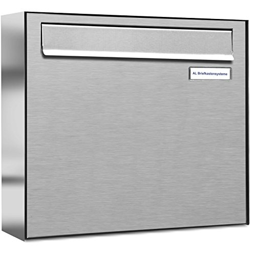 1er Premium Briefkasten für Zaundurchwurf in V2A Edelstahl rostfrei wetterfest als 1 Fach Durchwurfbriefkasten DIN A4 in Postkasten Design modern