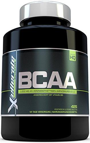 BCAA Tablette 1000 mg - 425 Tabletten – 3000 mg Tagesbedarf - 141 Tage Vorrat - 2:1:1 Mehrkettiges Aminosäuren-Nahrungsergänzungsmittel + B6 – Zutaten Beinhalten L-Leucin, L-Isoleucin, L-Valin