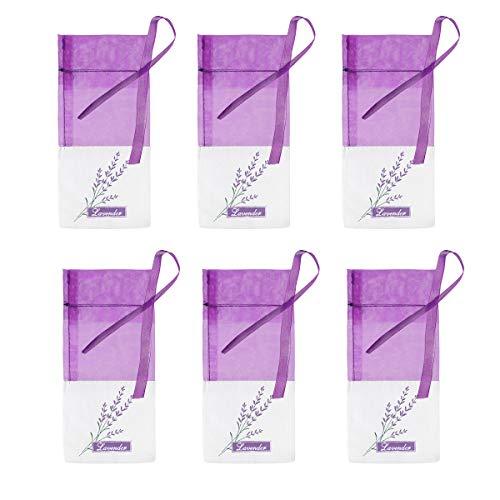 BESTONZON Lavendel Beutel Leere Duft Lavendelsäckchen Kordelzugbeutel Sack Duftsäckchen 6 Stück (Lila)