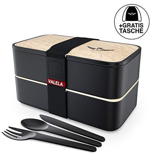 VALELA Lunchbox - Praktische Bento Box für den Transport von Mahlzeiten - Design Brotdose für die Schule und Arbeit - Meal prep Container für Kinder & Erwachsene - inkl. Transportbeutel + E-Book