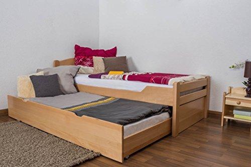 Einzelbett / Funktionsbett 'Easy Möbel' K1/h Voll inkl. 2. Liegeplatz und 2 Abdeckblenden, 90 x 200 cm Buche Vollholz massiv Natur