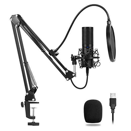 TONOR USB Kondensator Mikrofon Aufnahme Microphone Aufhängung Arm-Stativ mit Shock-Halterung Verstellbarem Mikrofonständer Kit Cardioid für Musik und Video aufnehmen Podcast usw