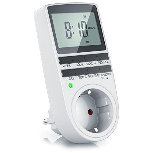 CSL - Zeitschaltuhr digital mit Display innen | 3680W | Digitale Zeitschaltuhr mit 10 konfigurierbaren Programmen | Timer mit Back-Up Reserve-Akku | Kinderschutzsicherung | für Steckdose Aquarium uvm