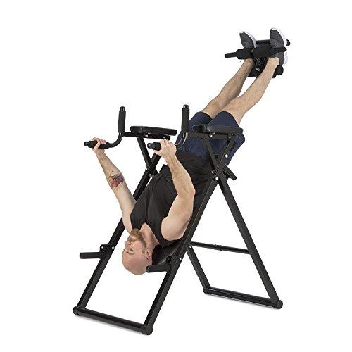 Klarfit Power-Gym • Inversionsbank • Hang-Up-Rückentrainer • Rücken-Bank • 6-in-1-Multitrainer • Inversion, Push-Ups, Squats, Chin-Ups, Dips & Ab-Training • bis 120 kg • verstellbar • schwarz