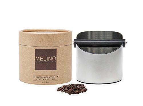 MELINO Premium Abschlagbehälter aus Edelstahl, Größe medium für 15 Puks, Abschlagkasten, Tresterbehälter, Abschlagbox