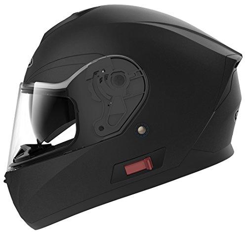 YEMA Motorradhelm Integralhelm Rollerhelm Fullface Helm YM-831 Sturzhelm ECE mit Doppelvisier Sonnenblende für Damen Herren Erwachsene-Schwarz Matt-L