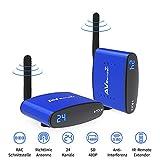 Wireless AV Extender Set, 480P WiFi 5,8 GHz 24 Kanäle AV Sender Receiver /Transmitter und Empfänger unterstützen IR Remote 200m, für DVD, DVR, IPTV, STB und Satelliten Receiver (RAC Port)