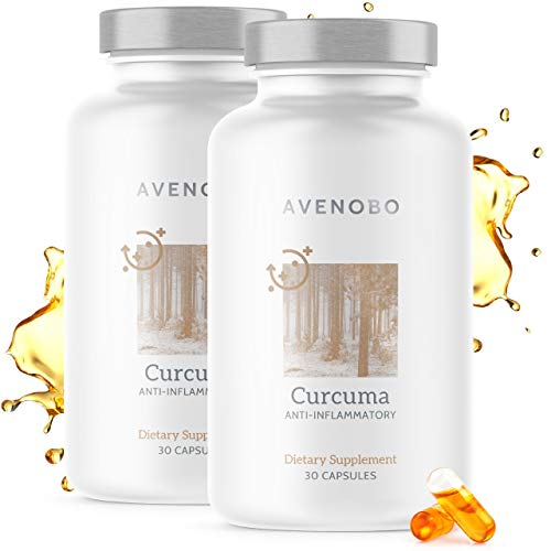 Premium Kurkuma (flüssig) mit Vitamin D3 von Avenobo - 185x höhere Bioverfügbarkeit als natives Curcumin - NovaSOL Hochdosiert Vegetarisch Flüssiges Curcuma Kapseln Hochdosiert - 60 (2x30) Kapseln