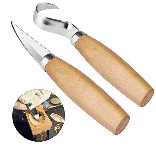 Holzschnitzhakenmesser, Holzschnitzwerkzeug-Set mit Edelstahlklinge für Schnitzlöffel und Schüsseln, Schnitzwerkzeuge für Anfänger und Profis (2 Stück)