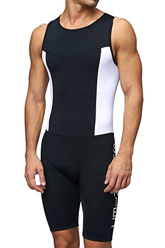 Herren gepolsterter Prämium Triathlon Tri Anzug Kompression Duathlon Laufen Schwimmen Fahrradfahren Skinsuit von Sundried (X-Large)