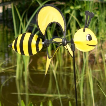Windspiel - Little Magic Bee - UV-beständig und wetterfest - Windrad: Ø28cm, Motiv: 35x13cm, Gesamthöhe: 85cm - inkl. Fiberglasstab (Bee)