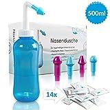 FUCHSI Nasendusche | Extra Große Nasenspülung 500ml + 14x 4g Nasenspülsalz + 4 Aufsätze für Erwachsene & Kinder | effektive Nasenreinigung bei Schnupfen, trockener Nase, Allergie, Erkältung - BLAU