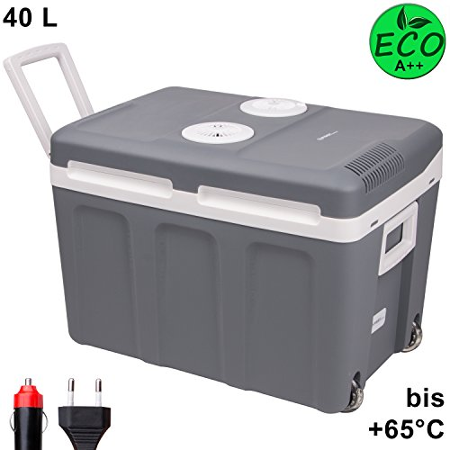 TZS First Austria - 40 L Kühlbox mit Rollen, zum Warmhalten und Kühlen, thermo-Elektrische Kühlbox 12 Volt und 230 Volt, Mini-Kühlschrank | Thermobox für Auto, Boot und Camping | EEK A++ mit ECO Modus