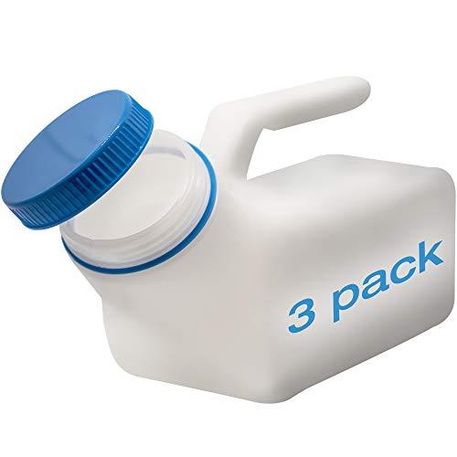 Urinflaschen für Männer von Tilcare (3er Pack) - 1000mL Herren Bettflasche aus dickem Plastik mit Schraubdeckel - Auslaufsichere Harnkammer - Tragbare Urinflaschen für Männer – Reisetoilette
