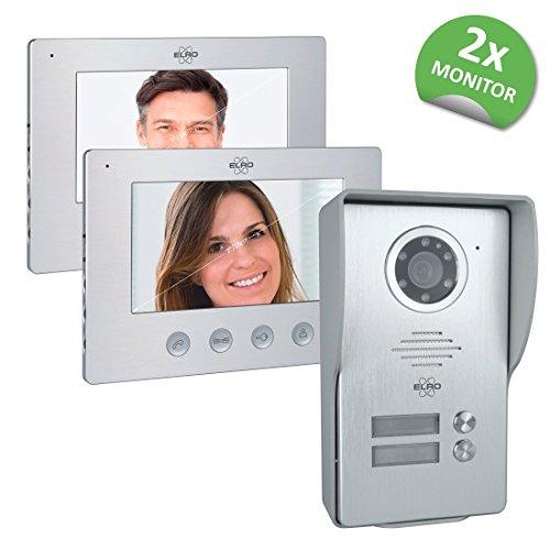 ELRO 2-Familien Video Türsprechanlage DV477W2 mit 2x 7' Farbdisplay, Kamera mit Nachtsicht, 4-Draht Technik, 16 Klingeltöne
