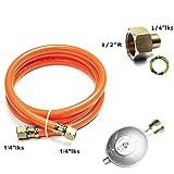 J+N Gasschlauch Druckminderer Set 150cm/ 50mbar + Phönix PH-A12.14 Übergang 1/2' R x 1/4' lks LPG Adapter aus Kupfer für Gaskocher BBQ Camping