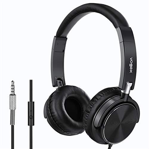 Faltbare Kopfhörer, Vogek Kopfhörer leicht faltbar mit Laustärkebegrenzung Musik Headsets 3,5mm On Ear Wired Headset Kompakte auf Ohr Stereo Ohrhörer für TV, Handy, Laptop and andere Geräten