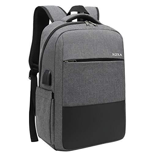 XQXA Laptop Rucksack, Business Rucksack Laptop Backpack für 15,6 Zoll Notebook Wasserabweisend Schulrucksack mit USB-Ladeanschluss für Arbeit Outdoor Reisen Camping - Grau