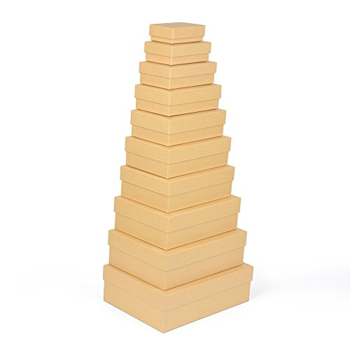 Geschenkboxen, 10er Set, stabiles Material mit feinem Kraftpapier überzogen, Kraftpapierboxen, auch für Scrapbooking