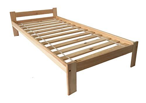Holzbett Bett 90x200 Jugendbett Kinderbett Kiefernbett Natur Massive Füße Einzelbett Bettgestell mit Lattenrost/Rollrost