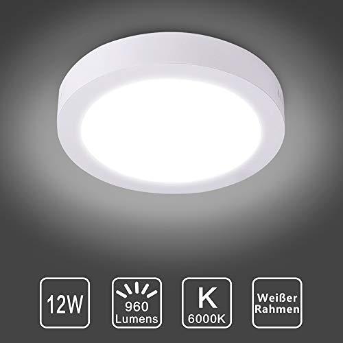 Deckenleuchte Rund 12W LED Deckenlampe Wandlampe Wandleuchte 6000K Kaltweiß für Küche, Flur, Keller (Nicht Dimmbar)
