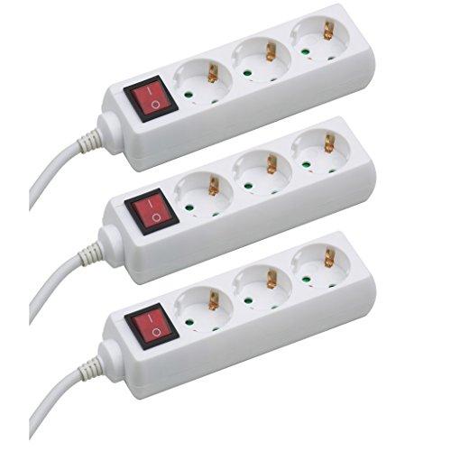 Meister Steckdosenleiste 3-fach  3er-Set  1,4 m Kabel  weiß  Kunststoffleitung  IP20 Innenbereich  Schalter | Steckerleiste | Mehrfachsteckdose | Tischsteckdose | Tido 3-fach | 7430270