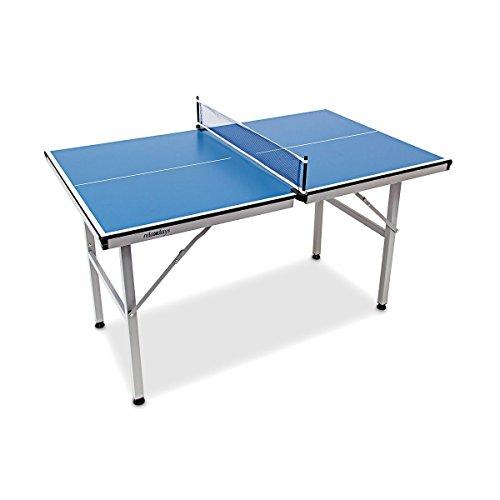 Relaxdays Tischtennisplatte Midi klappbar, Indoor u. Outdoor, Tischtennistisch m. Netz, HxBxT: 75 x 75 x 125 cm, blau