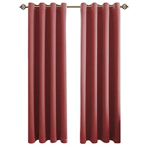 FLOWEROOM Blickdichte Gardinen Verdunkelungsvorhang - Lichtundurchlässige Vorhang mit Ösen für Schlafzimmer Geräuschreduzierung Rot 160x132cm(HxB), 2er Set