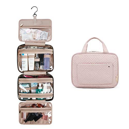 BAGSMART Kulturtasche zum Aufhängen Damen Reise Kulturbeutel für Makeup, Toilettenartikel (Rosa)