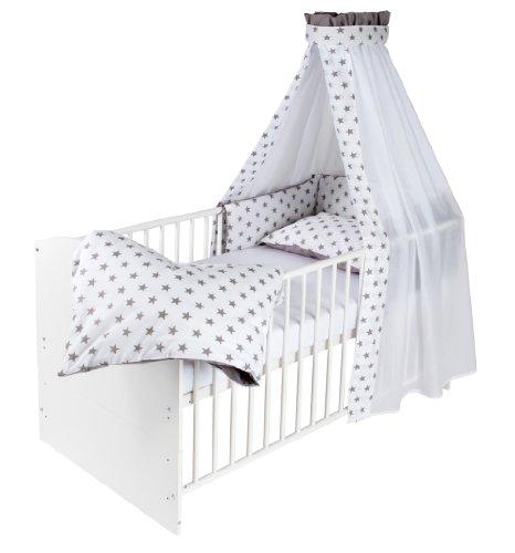 Schardt 04 498 02 02 1/723 Komplettbett Classic-Line, weiß mit textiler Ausstattung Big Stars grau