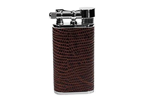 Pfeifenfeuerzeug exclusiv 'PEARL' Stanley mit geprägtem braunem Rindleder