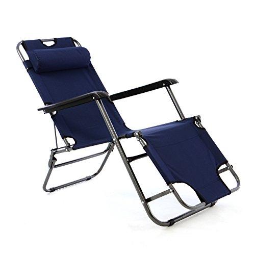 Liegestuhl Campingstuhl mit Liegefunktion Sonnenliege mit Kopfpolster Strandliege klappbar für Camping Freizeit Garten Strand navy-blau Tragfähigkeit bis 100kg