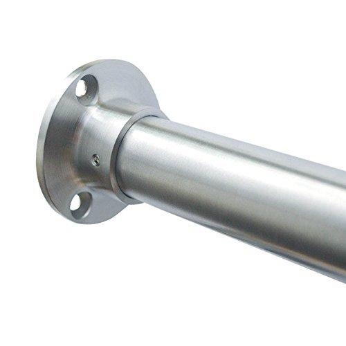 Edelstahl Garderobenstange im Set - Edelstahlrohr 21,3 mm - 60,3 mm - hochwertige geschliffene Oberfläche - für offene Nischen im Raum und Schränke - Premium Qualität (Länge 1250 mm, Rohr 33,7 mm)