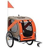 Festnight Hunde-Fahrradanhänger | Klappbar Hundeanhänger | Hunde Fahrrad Tier Anhänger | Orange und Grau Oxford-Gewebe mit Stahlrahmen | 137 x 73 x 90 cm