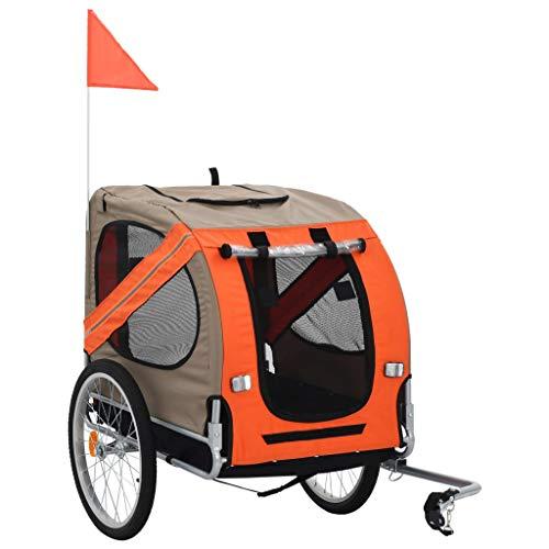 Festnight Hunde-Fahrradanhänger   Klappbar Hundeanhänger   Hunde Fahrrad Tier Anhänger   Orange und Grau Oxford-Gewebe mit Stahlrahmen   137 x 73 x 90 cm