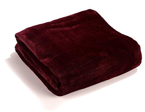 Fashion&Joy Premium Flanell Kuscheldecke Super Soft 200 x 150 cm XL in Bordeaux rot - pflegeleicht - fusselfrei - geprüfte Qualität - Ökotex zertifziert - Wohndecke weinrot Typ380