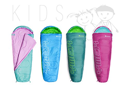 meteor Premium Kinderschlafsack: perfekt Jugendliche, Kinder ultraleicht Schlafsäcke für sommer Camping & Outdoor leicht mumienschlafsack, ultraleicht herbst huettenschlafsack, indoor sleeping bag (Dunkelgrün / Grün)