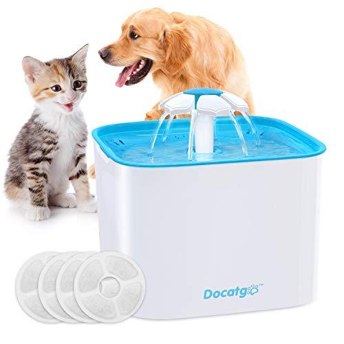 Docatgo Katzen Trinkbrunnen,4 Filterelemente Haustier Wasserspender Trinkbrunnen Hund Automatisch Blumentrinkbrunnen Trinkbrunnen Für Katzen und Hunde 2L Ultra Leise Wasserspender