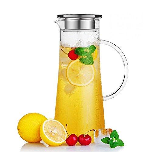 susteas Glas Krug karaffe mit Deckel Eistee Krug Wasserkrug Heißes Kaltes Wasser Eistee Wein Kaffee Milch und Saft Getränkekaraffe wasserkaraffe