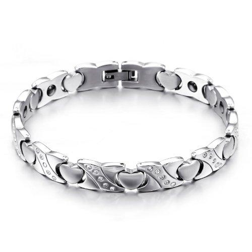 JewelryWe Schmuck Edelstahl Armband Magnetarmband Liebe Herz Link Gesundheit Magnet Partnerarmbänder Damenarmband Armreif Silber, 22cm Breite 9,4mm