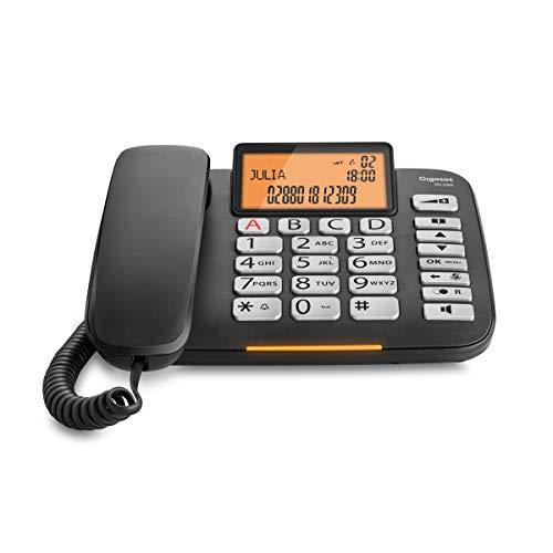 Gigaset DL580 - schnurgebundenes Senioren Telefon - Tischtelefon mit extra leichter Bedienung und beleuchtetem Farbdisplay, schwarz