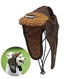 1pack Hund Fliegermütze Hund Pilot Wintermütze mit Ohrenklappen Haustier-Partei-Kostüm-Zusatz Pu-Warmer Hut für kleine und mittlere Hunde (Kaffee, L)