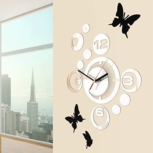 Jago Wanduhr mit Wandtattoos   Silber mit Spiegeloptik, 3 Schmetterlinge als Wandsticker   Wanddekoration, Designer Uhr für Wohnzimmer, Schlafzimmer, Kinderzimmer