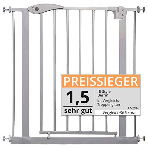 ib style- Berrin Treppengitter 75-175 cm | Auto-Close | 90°Stop | Einhand-Bedienung | SILBERMATT