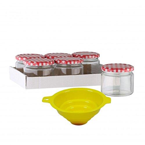 Viva Haushaltswaren - 6 x Marmeladenglas / Einmachglas 330 ml mit Deckel, Twist-off Gläser Set rund - als Einweckgläser, Vorratsdosen etc. verwendbar (inkl. Trichter)