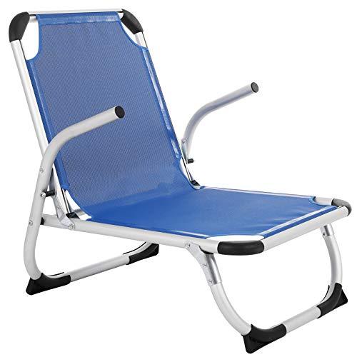 SONGMICS Strandstuhl, Klappstuhl, Aluminium, tragbarerer Campingstuhl, faltbar, leicht und komfortabel, atmungsaktives Kunstfasergewebe, hoch belastbar, Outdoor Stuhl, blau GCB64BU