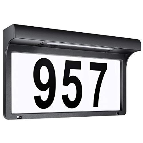 Solarhausnummer Hausnummer LED Solarleuchte Solar Außenwandleuchte Hausnummernleuchte Wandleuchte Hausnummernschild Beleuchtet Hausnummer Schild Wetterfest -Metall (31.5 x 17.5 cm)