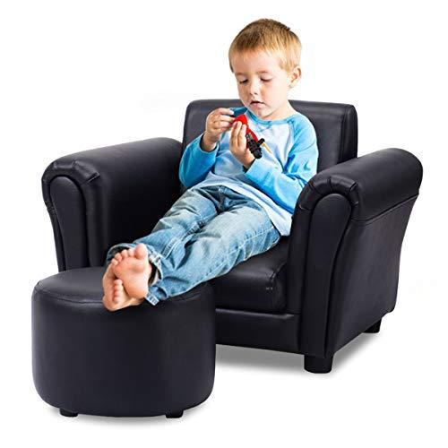 COSTWAY Kindersofa Kindersessel Kindercouch Babysessel Kinder Sofa Sessel mit Fußschemel Farbwahl (Schwarz)