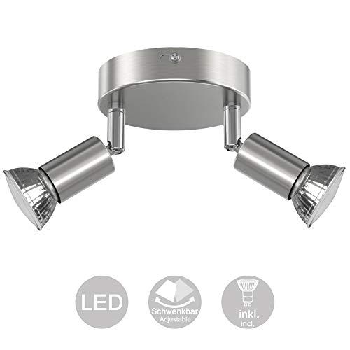 Creyer LED Deckenstrahler 2 Flammig, Schwenkbar LED Deckenleuchte, inkl. 2 x 4W GU10 LED Leuchtmittel, 400LM, Warmweiß, Modern Wohnzimmer LED Deckenspot, Rund LED Deckenlampe - Gebürstetes Nickel