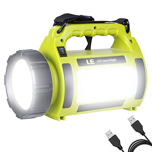 LE 1000lm LED Handscheinwerfer, wiederaufladbare Akkulampe, USB-Kabel inkl, 10W dimmbar 3 Lichtmodi 2 Helligkeitsstufen, Handlampe mit 3600mah Powerbank, IPX4 Wasserdichte Arbeitsleuchte